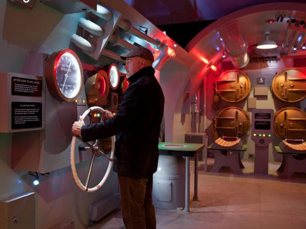 A visitor learns about the USS Tang's doomed final mission at the museum.