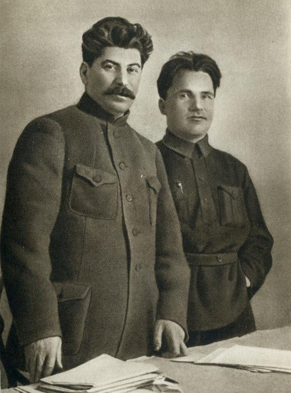 <em>Joseph Stalin and Sergey Kirov</em>, 1926, photogravure, published in <em>Joseph Stalin: A Short Biography</em> (Moscow, 1949)