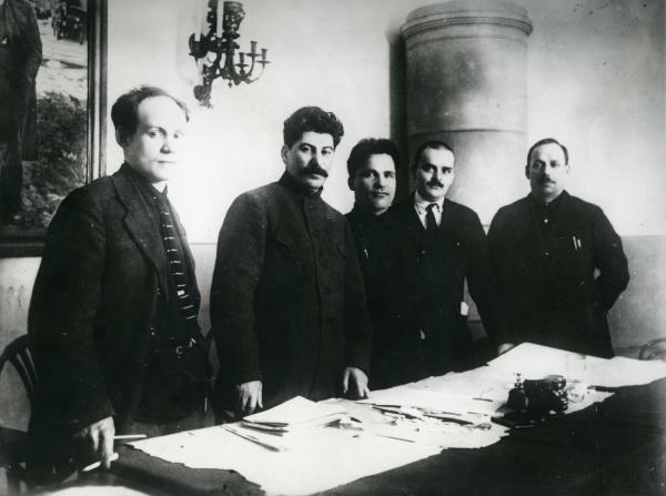 <em>Nikolay Antipov, Joseph Stalin, Sergey Kirov, Nikolay Shvernik and Nikolay Komarov at the Fifteenth Regional Party Conference, Leningrad</em>, 1926, printed later (Unknown Photographer)