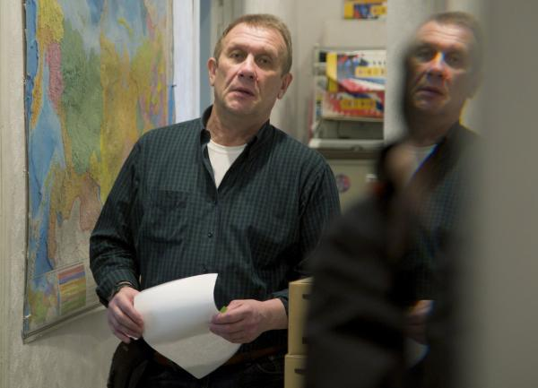 The chief of Amnesty International Russia, Sergei Nikitin, at his Moscow office on March 25, after Russian prosecutors and tax police carried out a search. The group is one of many that have been searched under a new law that critics say is being used to stifle dissent.