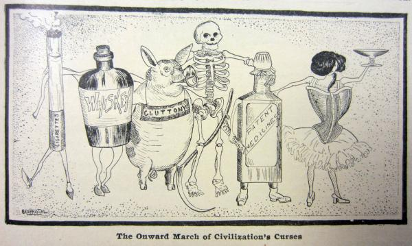An editorial cartoon from the April 1905 edition of <em>Physical Culture</em> magazine denounced the trappings of modern civilization, including smoking, alcohol, overconsumption of food, patent medicines and ill-fitting clothing.