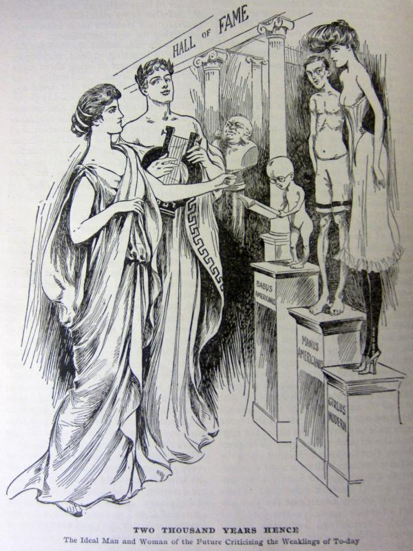 In another editorial cartoon from the September 1905 issue of <em>Physical Culture</em>, the ideal specimens of humanity judge the weak.