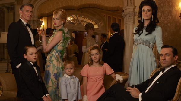 <em>Mad Men'</em>s sixth season, which premiered April 7, revolves around (from left) Henry Francis (Christopher Stanley), Bobby Draper (Mason Vale Cotton), Betty Francis (January Jones), Gene Draper (Evan and Ryder Londo), Sally Draper (Kiernan Shipka), Megan Draper (Jessica Pare) and Don Draper (Jon Hamm).