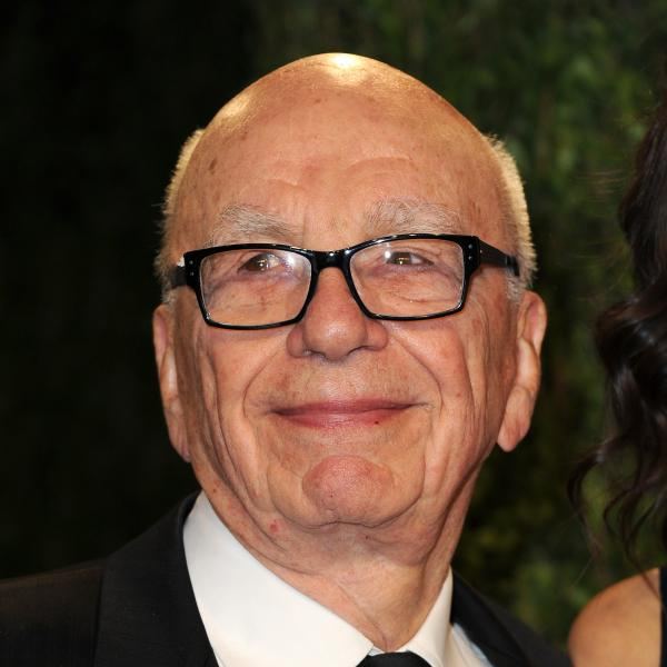 The head of News Corp., Rupert Murdoch, arrives at the Vanity Fair Oscar Party in February.