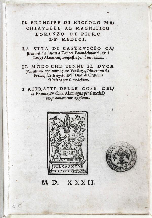One of the first editions of <em>The Prince,</em> published in Florence in 1532 after Machiavelli's death.