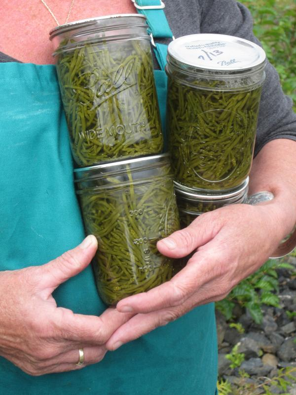 Mary Anna Murphy, one of only two year-round residents on Wadleigh Island, holds jars of sea asparagus she canned.<strong></strong>