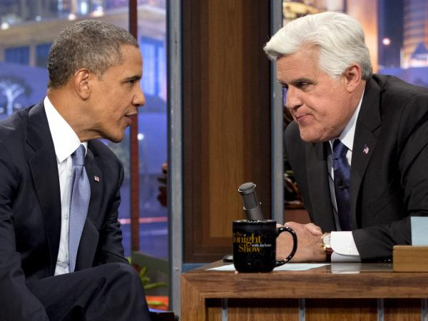 "President Obama talks with Jay Leno during the taping of his appearance on <em>The Tonight Show with Jay Leno. </em>Obama told Leno: ""We don't have a domestic spying program.""<em></em>"