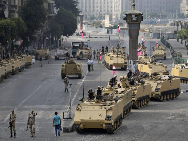 Egyptian army soldiers take their positions around Tahrir Square in central Cairo on Friday.