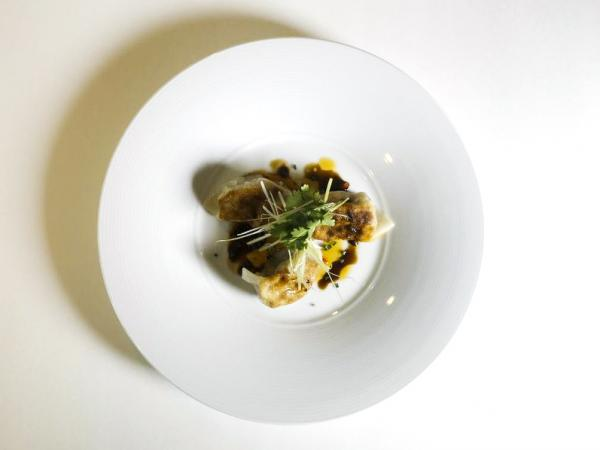 A potsticker prepared by Chef Scott Drewno at the Washington, D.C., restaurant The Source.