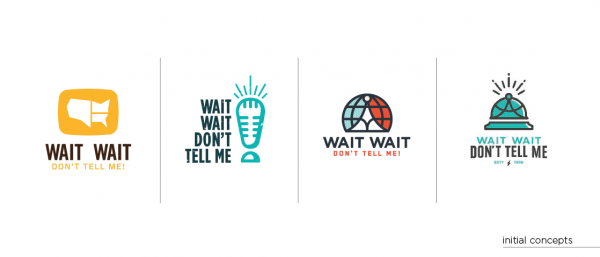 Some of Mike Casebolt's preliminary ideas for the <em>Wait Wait... Don't Tell Me! </em>rebrand.