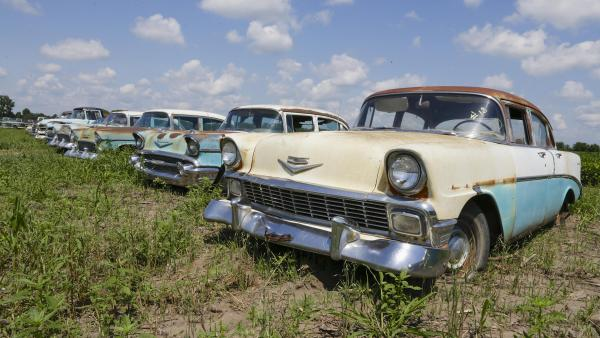 Chevrolets are lined up in a field near the Lambrecht Chevrolet dealership in Pierce, Neb. Later this month, bidders will attend a two-day auction that will feature about 500 old cars and trucks, many with fewer than 10 miles on the odometer.