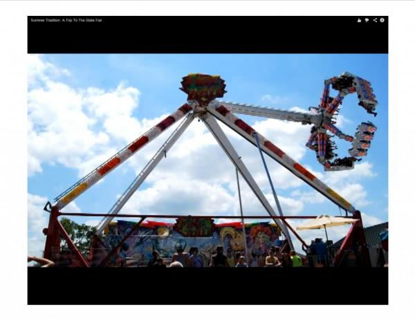 Carnival rides are a staple of Midwest state fairs. (Screenshot from Harvest Public Media)