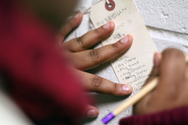 Eighth-grader Portia Carter, 14, lists the people she thinks would miss her if she died.