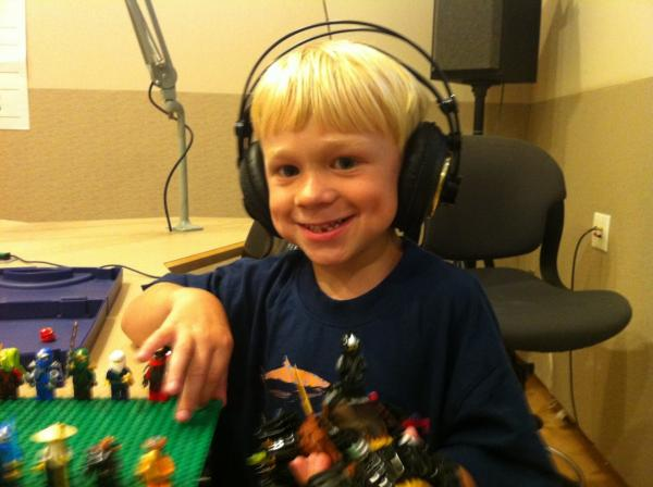 Sam Sullivan, 5, is pictured in the Here & Now studios. (Katherine Gorman/Here & Now)