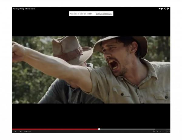 "James Franco in a scene from his new film, ""As I Lay Dying."" (Screenshot from Millenium Films)"