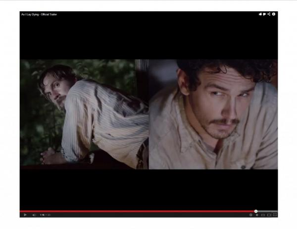 "James Franco uses split screen as a device in his new film, ""As I Lay Dying."" (Screenshot from Millenium Films)"