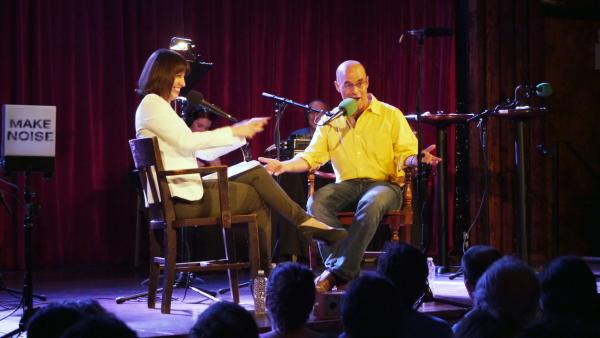 <em>Ask Me Another host </em>Ophira Eisenberg chats with Wait,<em> Wait...Don't Tell Me!</em> host Peter Sagal onstage at The Bell House in Brooklyn, N.Y., about how to host the perfect public radio game show.