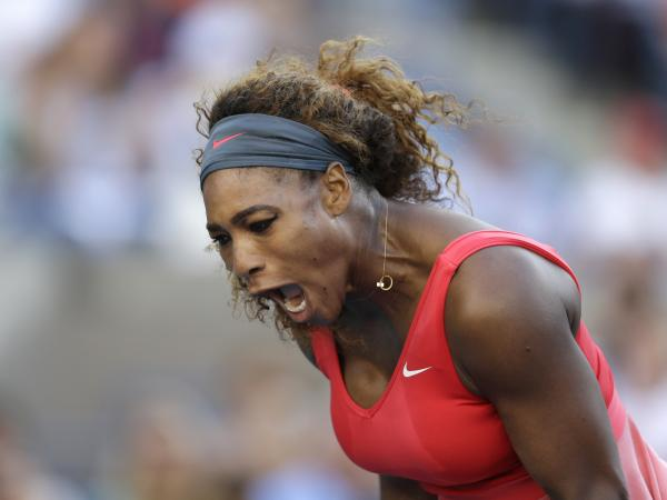 Serena Williams reacts after a point against Victoria Azarenka, of Belarus, during the women's singles final of the 2013 U.S. Open tennis tournament on Sunday in New York.