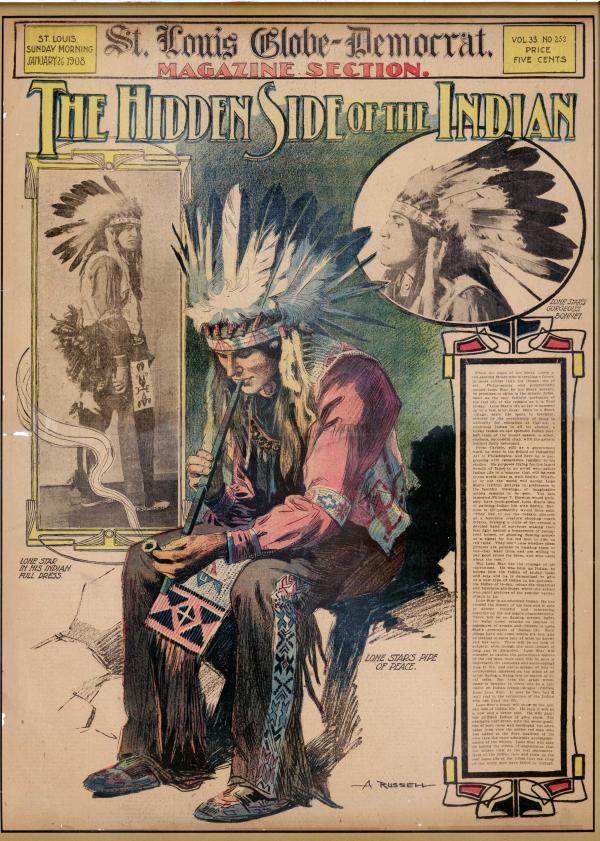 "The cover of the <em>St. Louis Globe-Democrat</em> Sunday supplement from January 1908 shows William ""Lone Star"" Dietz, who in 1916 coached Washington State University to a Rose Bowl victory, in full Indian dress. Some credit Dietz with inspiring the name of the Redskins."