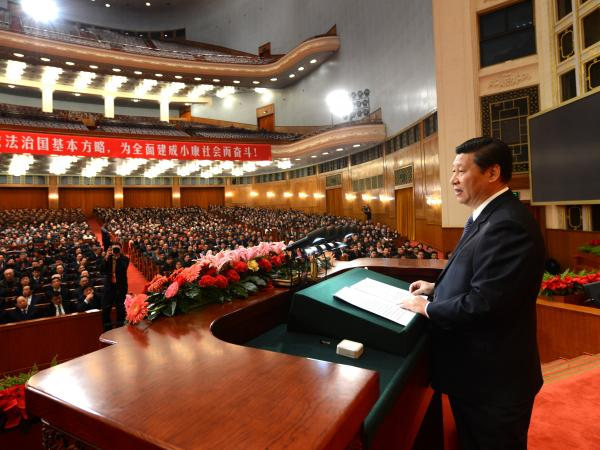 President Xi Jinping speaks at a congress in Beijing marking the 30th anniversary of the implementation of China's constitution, on Dec. 4, 2012. In the speech, he vowed to uphold the constitution and the rule of law.