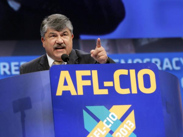 Richard Trumka, American Federation of Labor and Congress of Industrial Organizations president, addresses members during the quadrennial AFL-CIO convention in Los Angeles on Monday.