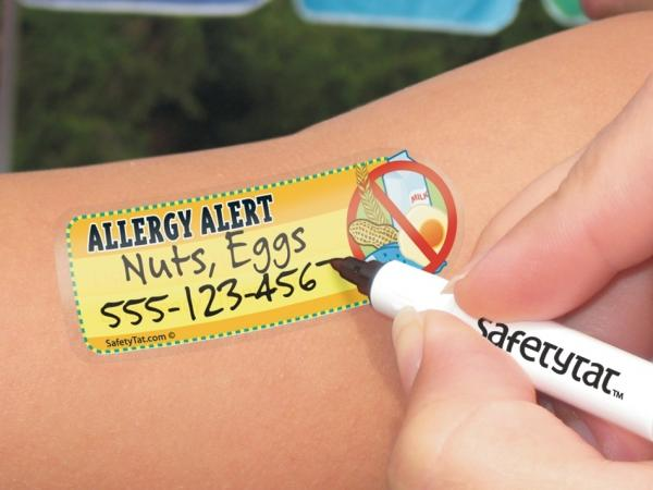 SafetyTat, the inventor of children's safety tattoos, offers a line of allergy tattoos to help children with food allergies.
