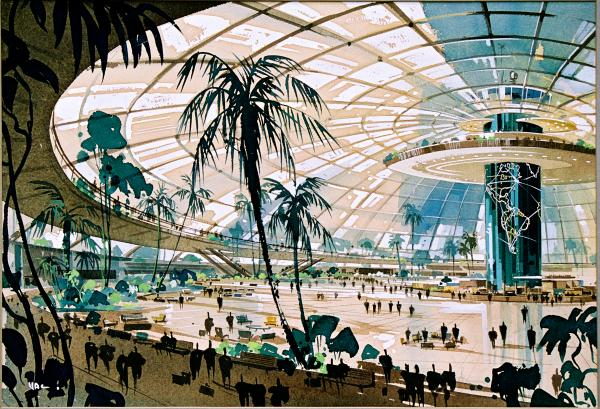 Pereira and Luckman, Los Angeles International Airport Original Plan, 1952<strong> — </strong>The original design for LAX had a single, centralized terminal under a glass dome, a plan which was nixed by both the airlines and city engineers.