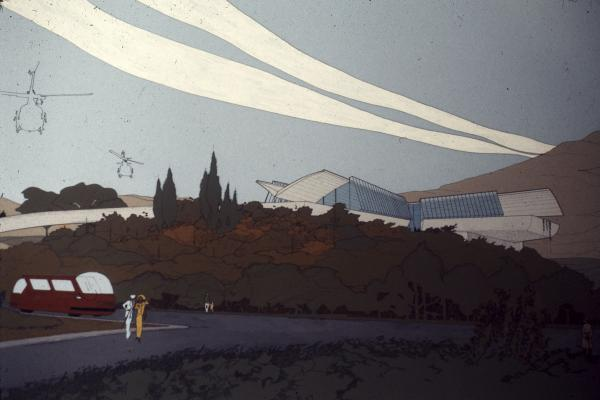 John Lautner, Griffith Park Nature Center, 1972-1974 — In this painting of the proposed center, Lautner was at pains to how the building was inspired by land and sky.