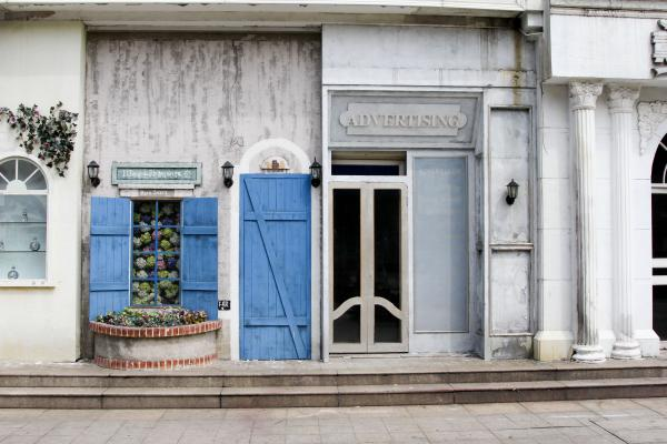 Among Sky City's more surreal aspects are fake storefronts that house nonexistent businesses.
