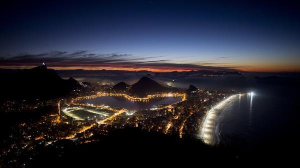 Rio de Janeiro, Brazil, shown just before sunrise.