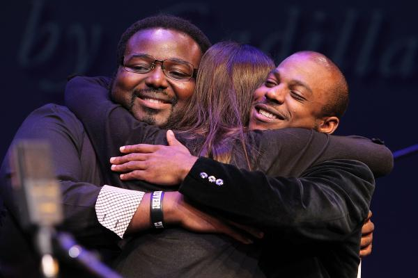Melissa Aldana congratulates fellow 2013 Monk Competition finalists and friends Godwin Louis (left) and Tivon Pennicott.