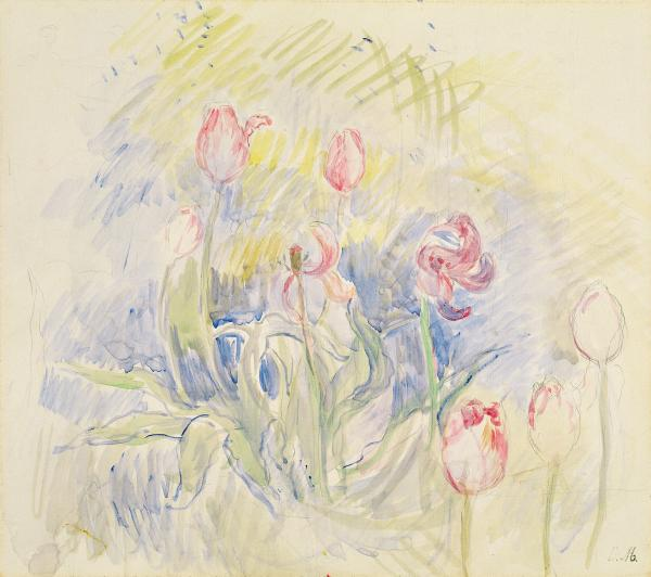 Berthe Morisot's 1890 watercolor <em>Tulips</em>.