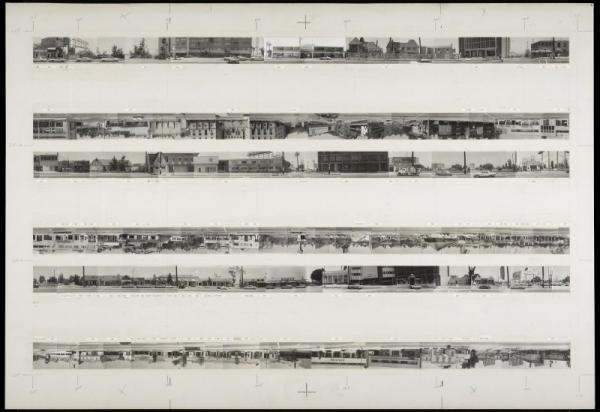 The Getty currently holds the archive for all of Ruscha'€™s Los Angeles street shoots (his negatives are estimated to number in the millions), including this hand-made mock-up of his iconic 1966 book, <em>Every Building on the Sunset Strip.</em>