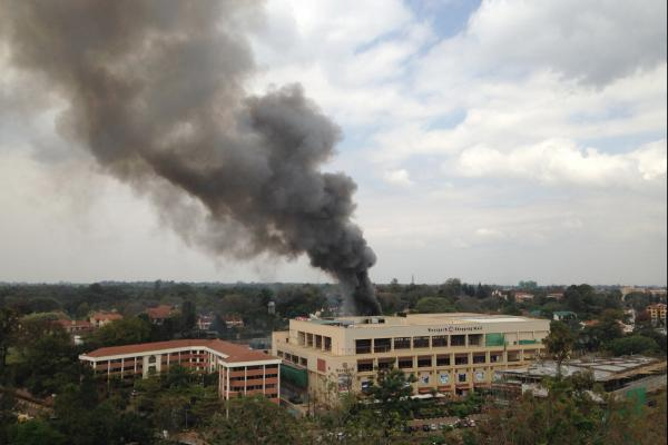 Smoke rises from the Westgate Mall. Witnesses reported multiple large blasts coming from the scene.