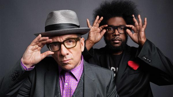 Elvis Costello and ?uestlove of The Roots.