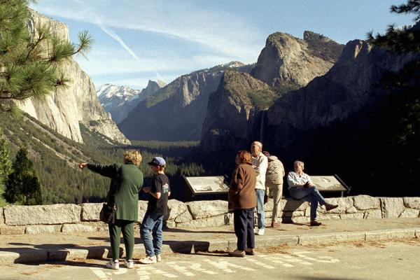 The first visitors in three weeks view Yosemite Valley in California on Jan. 6, 1996. President Clinton signed Republican-crafted legislation to restore jobs and pay 750,000 government workers, while he and Congress negotiated how to balance the federal budget.