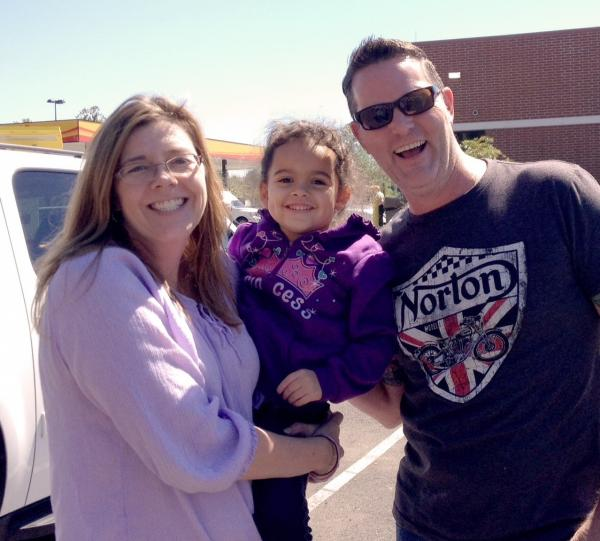 "Matt and Melanie Capobianco with ""Baby Veronica,"" taken Monday."