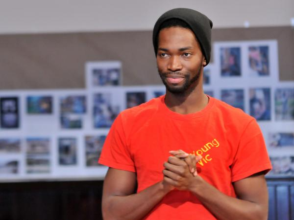 McCraney in rehearsal for <em>The Brother/Sister Plays </em>at Chicago's Steppenwolf Theatre, where he's a member of the ensemble.