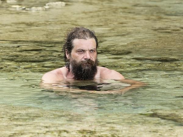 Rupert Boneham, seen without his tie-dye, on <em>Survivor: Blood vs. Water</em>.