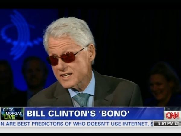 Former President Clinton, channeling his inner Bono, on CNN's <em>Piers Morgan Live</em>.