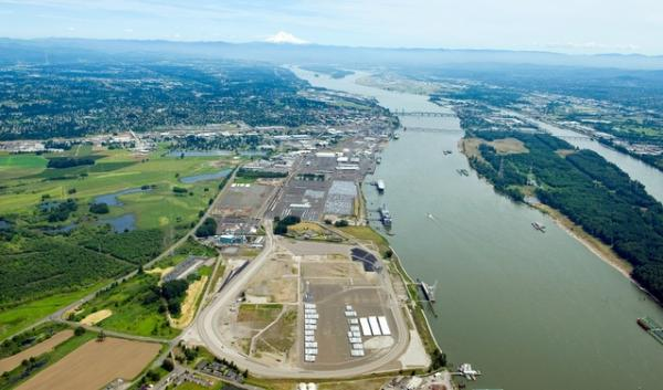 An aerial view of the Port of Vancouver. It's one of several locations in the Northwest where train-to-vessel oil terminala have been proposed.