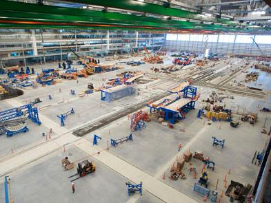 Construction crews work to finish Boeing's new 787 Dreamliner assembly plant in North Charleston, S.C. The company plans to start assembling planes here in July and will provide 1,000 nonunion jobs.