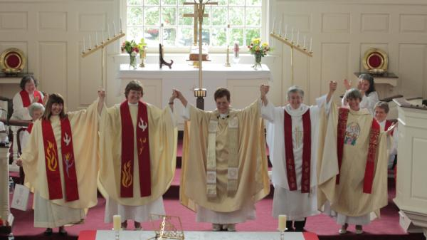 "Roman Catholic ""Womenpriests"" on their ordination day, June 4, at St. John's United Church of Christ in Catonsville, Md."