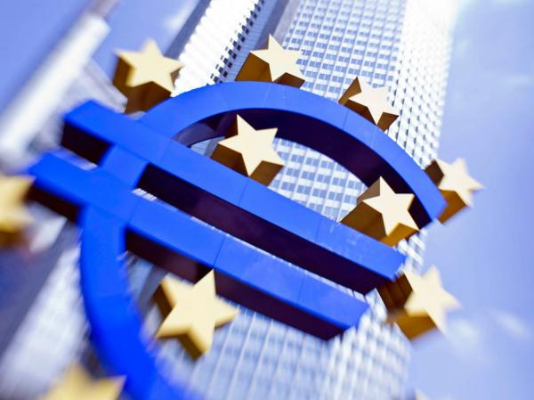The European currency euro logo is shown in front of the  European Central Bank in Frankfurt.