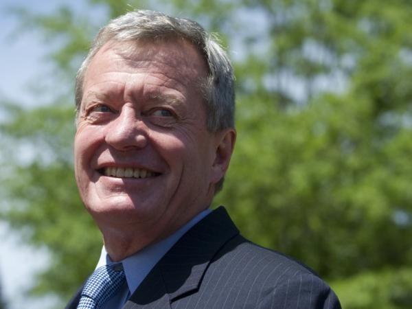 "Montana Sen. Max Baucus, chairman of the Senate Finance Committee, walks to a bipartisan meeting on the deficit hosted by Vice President Biden in May. Baucus is one of 12 lawmakers who've been named to the new Joint Select Committee on Deficit Reduction, dubbed the ""supercommittee."""