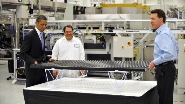 President Obama visited Solyndra's plant in Fremont, Calif., in May 2010.