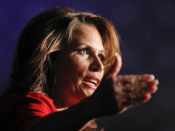 Republican presidential candidate Rep. Michele Bachmann, R-Minn., speaks during the California Republican Party Fall Convention dinner in Los Angeles.