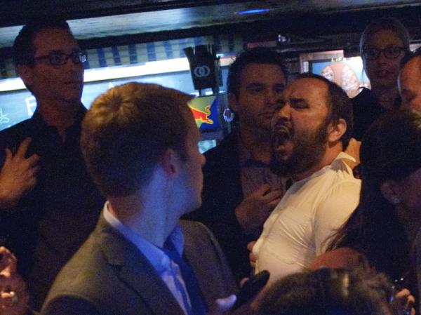 The man who interrupted President Obama during a fundraiser Monday in Los Angeles is removed from the audience.