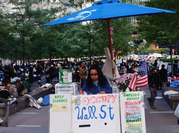 <p>The scene this week at Zuccotti Park in Manhattan.</p>