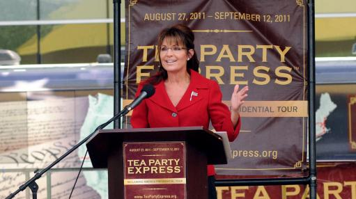 <p>Former Alaska governor Sarah Palin says she will not seek the Republican nomination for the 2012 presidential election. Here, she speaks at a Tea Party Express rally in New Hampshire, Sept. 5, as part of the Reclaiming America bus tour.</p>